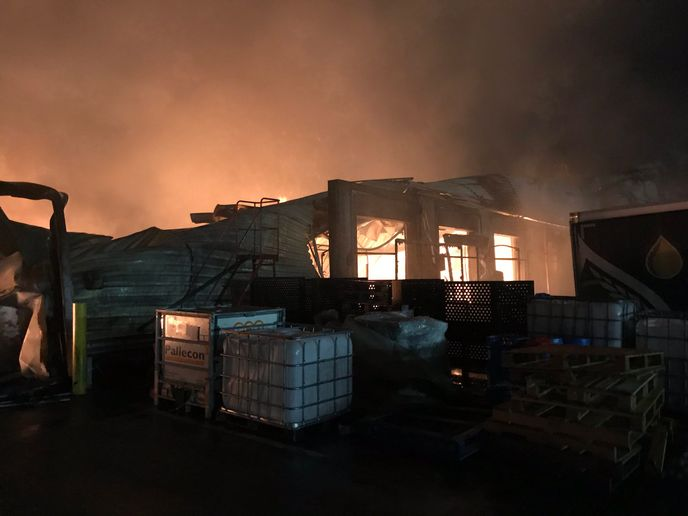 Flames gutted a food warehouse Saturday in Basildon, England. - Photo Courtesy of Essex County Fire and Rescue Service