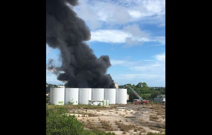 An explosion rocked the area of US 1 and R.J. Conlan Boulevard in Palm Bay, Florida, Tuesday. - Photo courtesy of Palm Bay Fire Rescue