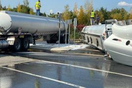 Overturned Semi-Truck Blocks Interstate Exit in Pennsylvania