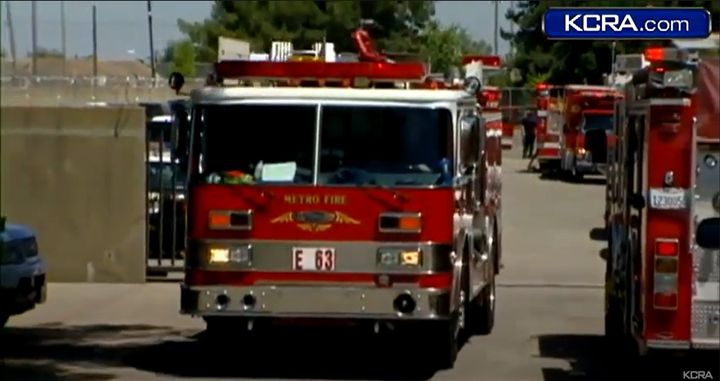 Fire truck leaves the General Environmental Management facility in Rancho Cordova, California, after an August 2011 fire. - Screencapture Via KCRA