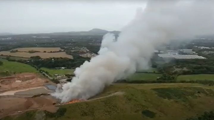 Fire broke out at a recycling plant in west central England Thursday morning. - Screencapture Via YouTube