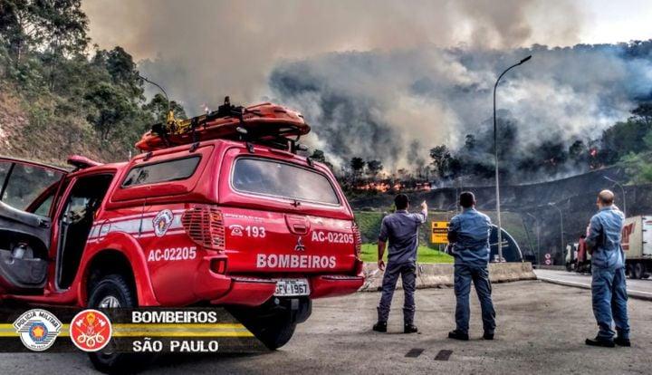 Bombeiros PMESP prepare to tackle a recent wildfire in Sao Paulo, Brazil. - Photo Coutesy of Bombeiros Sao Paulo.