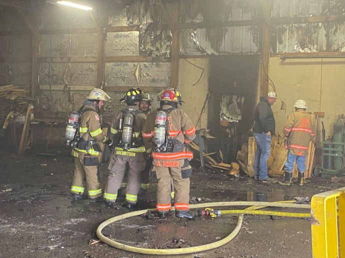 Firefighters battle a blaze Wednesday afternoon at a wood products plant Missouri. - Photo Courtesy of Boone County Fire Protection District