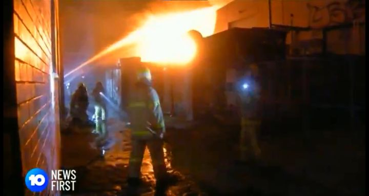 Fire Rescue Victoria responders tackle a furniture factory fire Monday in Australia. - Screencapture Via 10 News First