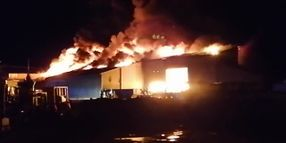 Boat Factory Warehouse Burns in French Community