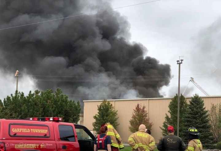 Smoke pours from the Bay View Foods pickle plant Saturday in Fraser Township, Michigan. - Photo Courtesy of Kawkawlin Fire/Rescue Station