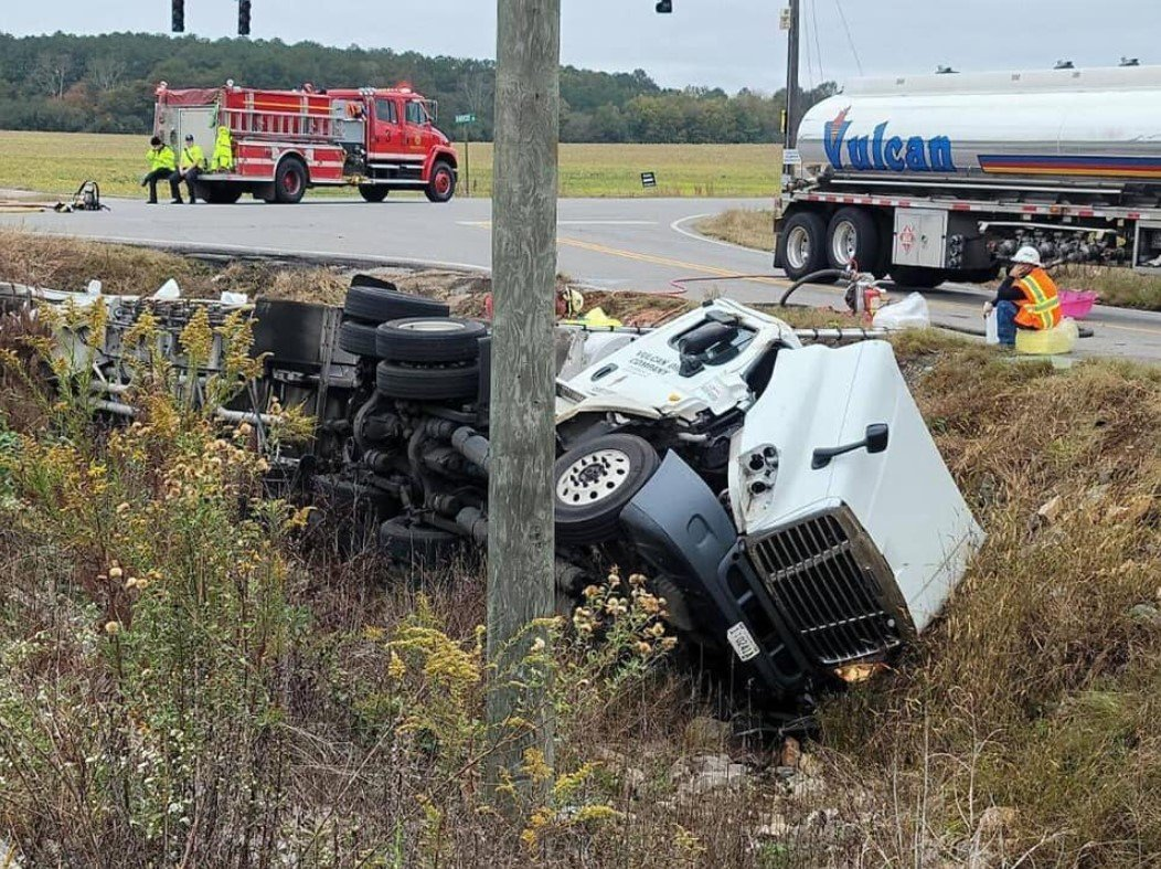 Overturned Fuel Tanker Blocks Alabama Intersection