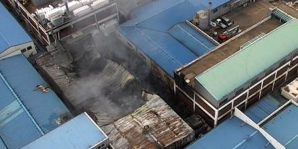 Fire collapsed a portion of the roof Thursday at a garment factory in South Korea.