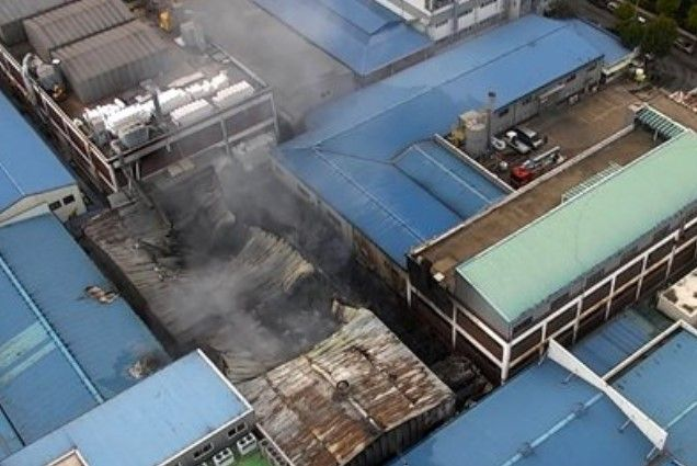 Fire collapsed a portion of the roof Thursday at a garment factory in South Korea. - Photo Courtesy of Incheon Fire Department