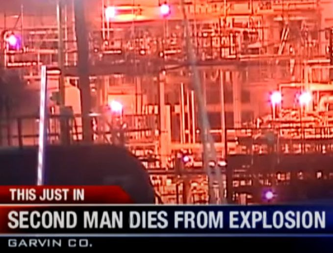 A September 2012 explosion at a refinery in Wynnewood, Oklahoma, killed two workers. - Screencapture Via KOCO