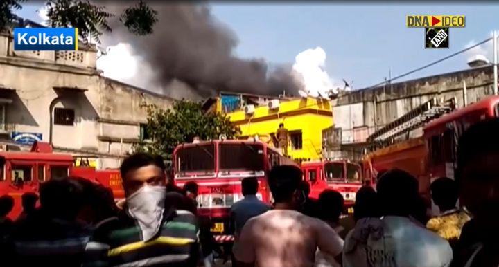 Fire operations underway at a plastics plant Monday in Kolkata, India. - Screencapture Via ANI