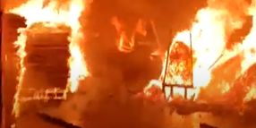 Firefighters Battle Plywood Plant Blaze in India