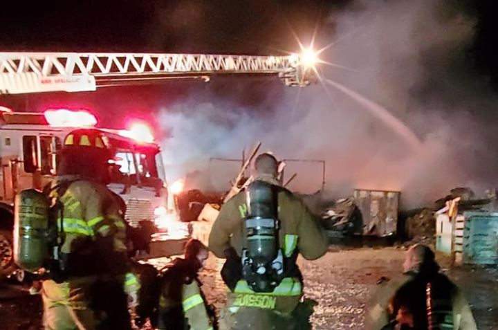Firefighters battle a pallet plant blaze Wednesday in Sandusky County, Ohio. - Photo Courtesy of Sandusky County EMS