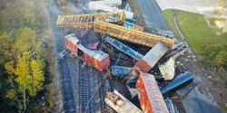 Railcars piled up in the aftermath of a derailment Thursday morning near Beaumont, Texas.