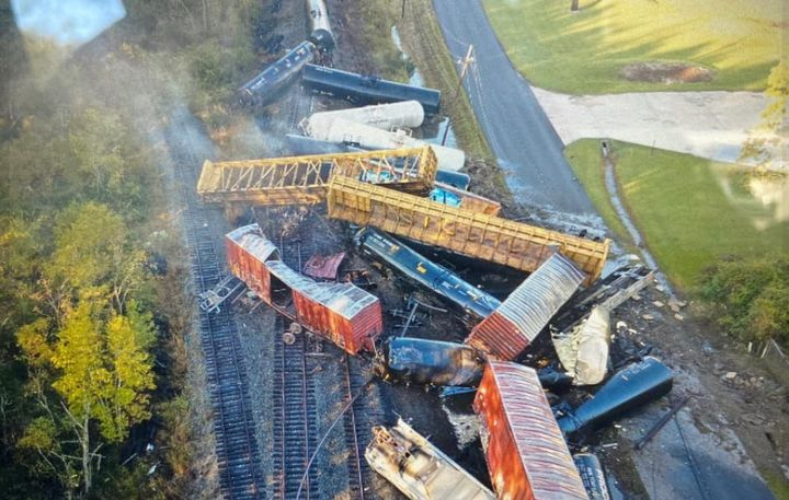 Railcars piled up in the aftermath of a derailment Thursday morning near Beaumont, Texas. - Photo Courtesy of Orange County Sheriff's Office