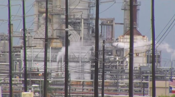 Total's Port Arthur, Texas, refinery. - Screencapture Via KBMT