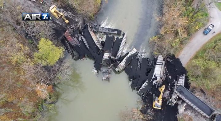 Aerial view of a coal train derailment reported Friday night in Roanoke County, Virginia. - Screencapture Via WDBJ
