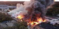 Aerial view of a four-alarm factory fire Saturday morning in Rockford, Illinois.