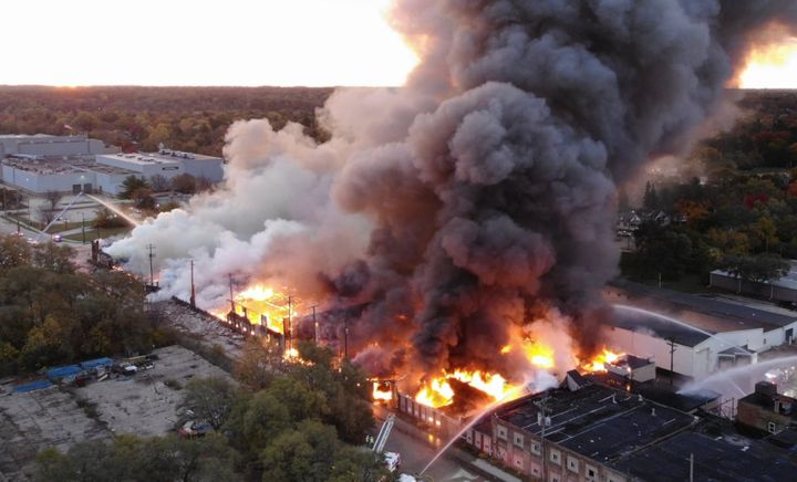 Aerial view of a four-alarm factory fire Saturday morning in Rockford, Illinois. - Photo Courtesy of Rockford Fire Department