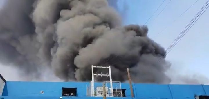 Flames spread through an industrial park Sunday in northeastern Mexico. - Screencapture Via Twitter