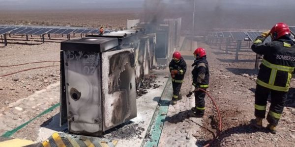 Electrical inverters at a solar farm in Argentina caught fire Sunday.
