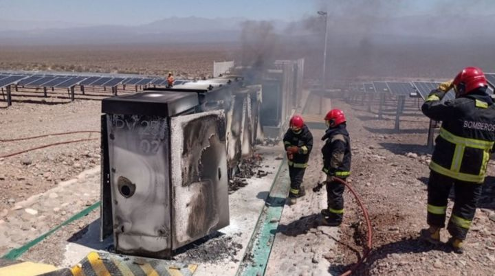 Electrical inverters at a solar farm in Argentina caught fire Sunday. - Photo Courtesy of City of Ullum