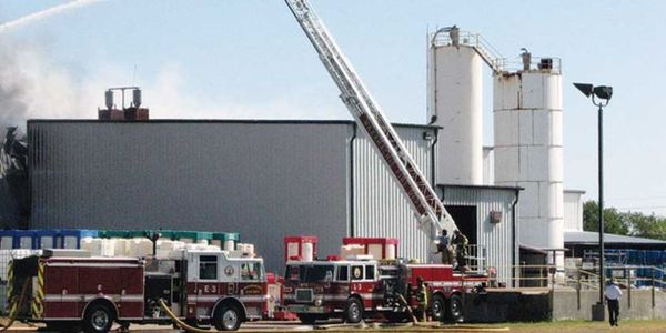 Tower ladder in operation during the Magnablend chemical plant fire in October 2011.