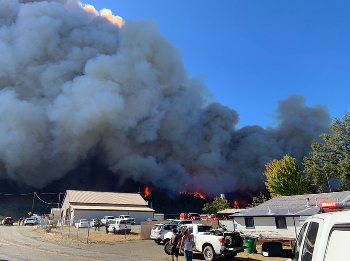 Flames on the opening day of the massive Zogg Fire in northern California. - Photo Courtesy of Cal Fire
