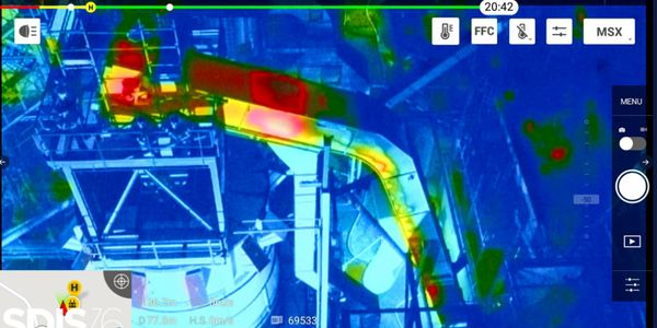 Thermal imaging identifies fire traveling up an enclosed shute during a factory fire in France...