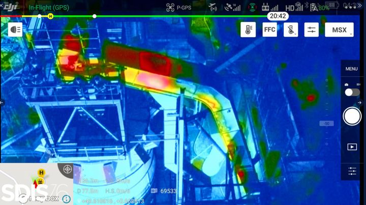 Thermal imaging identifies fire traveling up an enclosed shute during a factory fire in France Tuesday. - Photo Courtesy of SDIS 76
