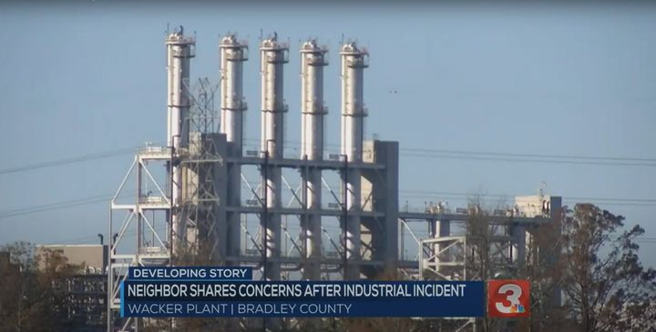 Fatality accident reported at Tennessee chemical plant Friday. - Screencapture Via WRCB
