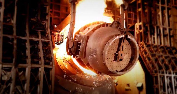 Steel being manufactured at POSCO's works in Gwangyang, South Korea. - Screencapture Via POSCO