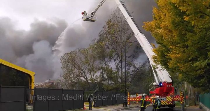 An October fire at a warehouse in Le Havre, France. - Screencapture Via Medhi Weber /France Television