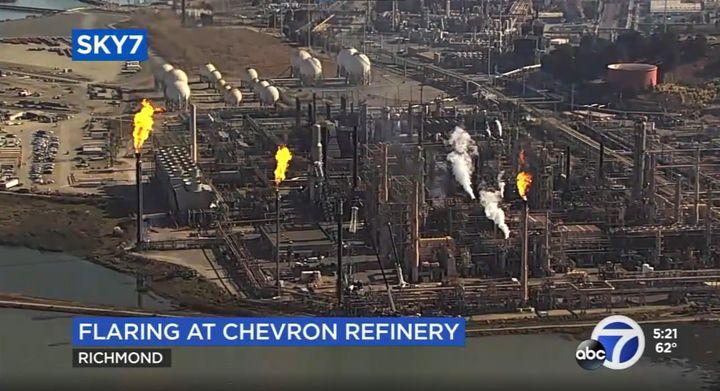 Safety flare stacks activated Monday at Chevron refinery in Richmond, California. - Screencapture Via KGO-TV