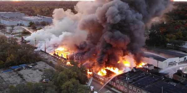 Aerial view of a four-alarm fire Oct. 24 in Rockford, Illinois.