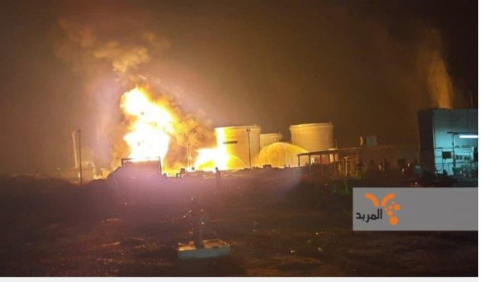Flames rise from the Siniya refinery in Iraq after a rocket attack by militants Sunday. - Screencapture Via Twitter