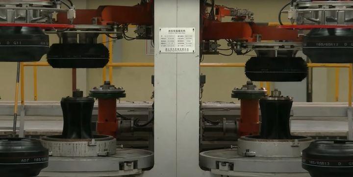 Equipment need to manufacture tires. - Screencapture Via YouTube