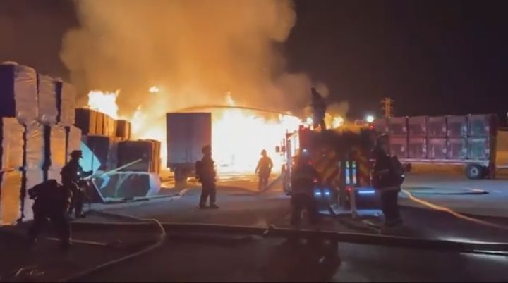 Responders struggle to extinguish a two-alarm fire at a cardboard box plant in California Sunday night. - Photo Courtesy of Alameda County Fire Department