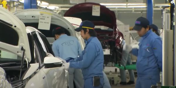 Vehicles on a Toyota assembly line.