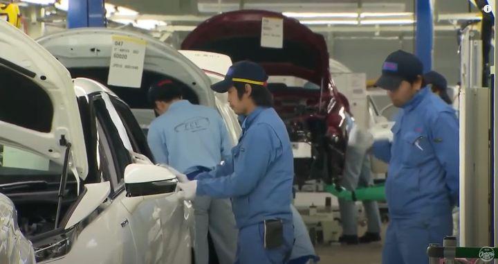 Vehicles on a Toyota assembly line. - Screencapture Via Toyota Assembly Production