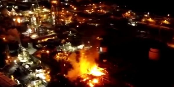 Drone footage captured flames rising from the Chemours chemical plant in Belle, West Virginia,...