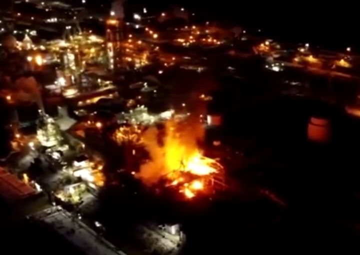Drone footage captured flames rising from the Chemours chemical plant in Belle, West Virginia, Tuesday night. - Screencapture Via WSAZ