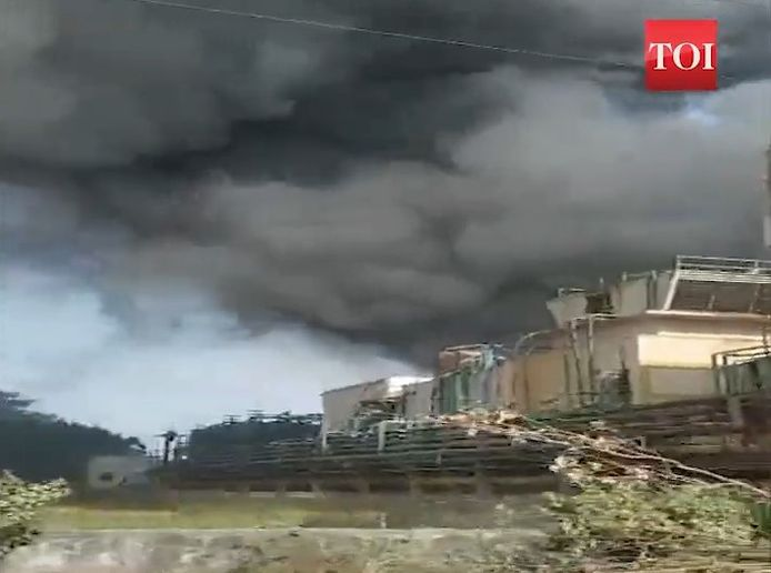 Solvent ignited at a chemical plant in India Saturday, injuring eight workers. - Screencapture Via Times of India