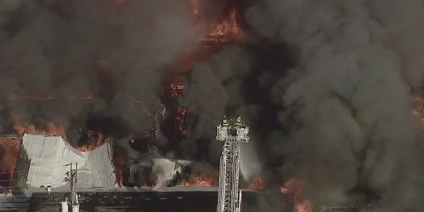 Aerial photo capture only a small portion of a warehouse fire burning Wednesday in Chicago.