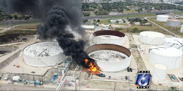 An explosion and fire Saturday at a storage terminal in Corpus Christi, TX, left four of the...