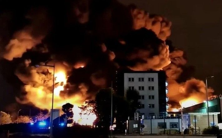 A September 2019 fire at the Lubrizol chemical plant in Rouen, France. - Screencapture Via YouTube