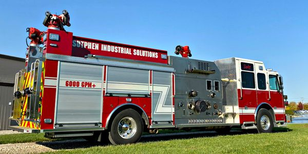 New Sutphen industrial pumper is capable of flowing over 6,500 gallons per minute from draft.