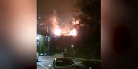 Firefighters Rush to Factory Blaze in English East Midlands