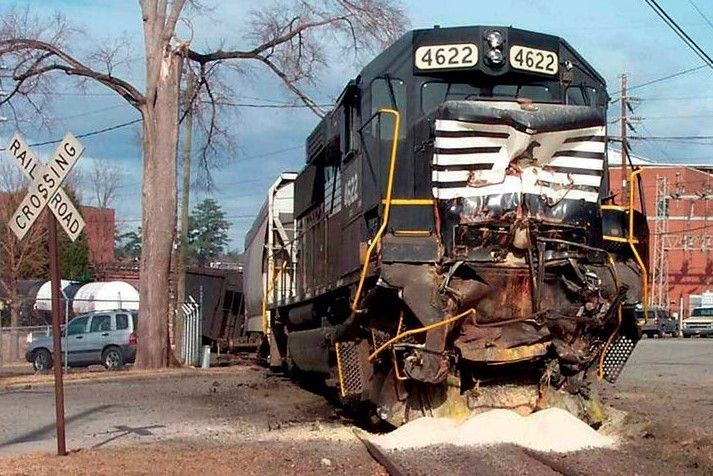 The crumpled front of the moving locomotive in the collision, - Photo Courtesy of Allen County Emergency Services Hazardous Materials Team
