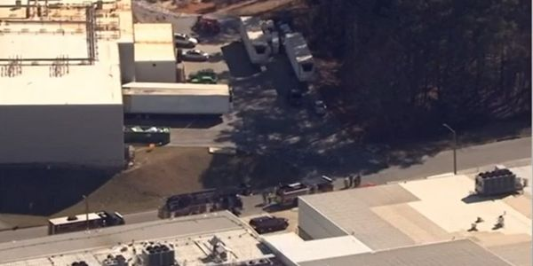Aerial view of a Gainesville, Georgia, poultry plant following a hazmat emergency Thursday...